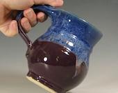 Mug coffee ceramic, tea cup stoneware, glazed in purple blue, handmade stoneware by hughes pottery