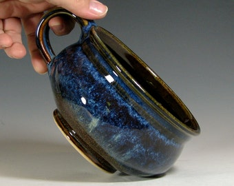 Soup bowl, hand made ceramic, cappuccino mug, chili onion soup crock, glazed in brown blue, handmade stoneware by hughes pottery