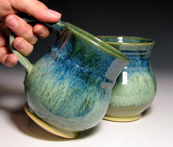 Ready to ship coffee mug green blue cream