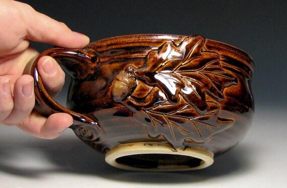 Soup mug oak acorn autumn fall cappuccino chili mug caramel brown stoneware pottery in stock