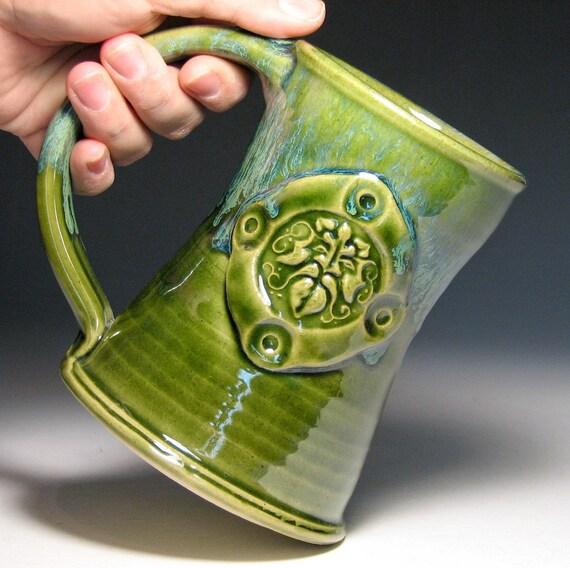 Tankard stein beer green moss Greenman pagan wiccan stoneware wheel thrown ready to ship