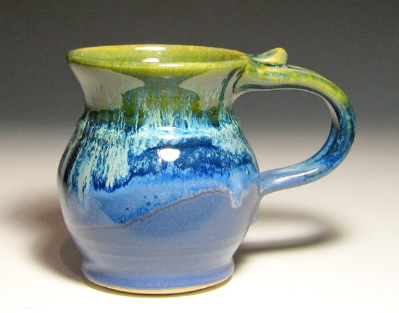 Stoneware mug handmade purple blue green moss clay in stock