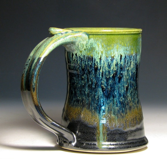 Stein beer tankard cup stoneware gray moss green blue wheel thrown hughes pottery