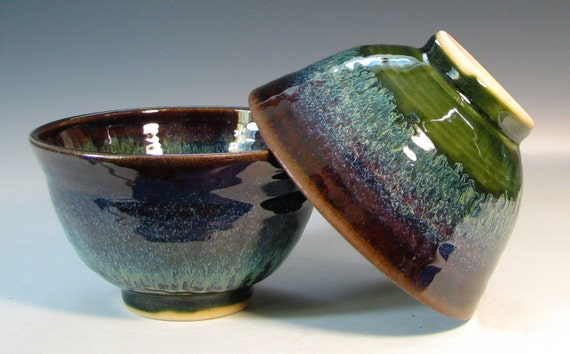 Rice bowl ceramic stir fry asian cusine stoneware, glazed in green moss brown, handmade by hughes pottery
