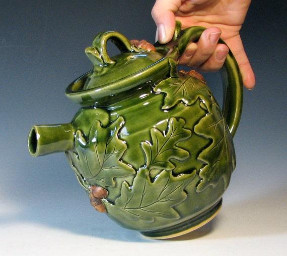 Teapot ceramic holiday serving oak leaf acorn, glazed in green, handmade stoneware by hughes pottery