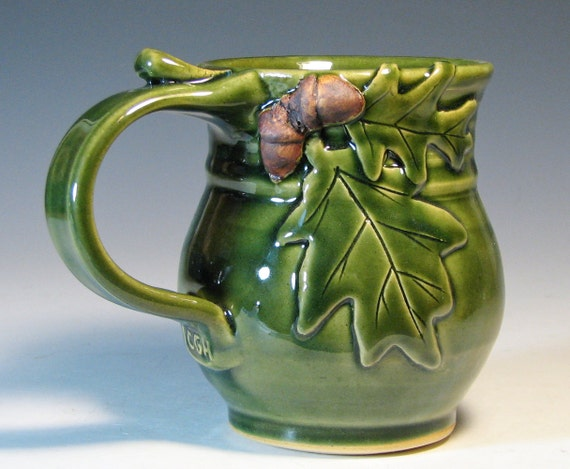Coffee mug acorn oak leaf, holiday decor, glazed in green, handmade stoneware by hughes pottery