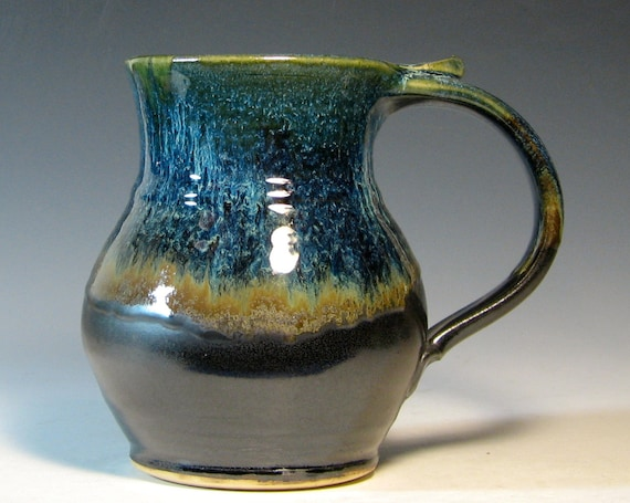 XL Coffee mug ceramic extra large cup tea soup hot cocoa, glazed in metallic gray bronze and blue, handmade by hughes pottery