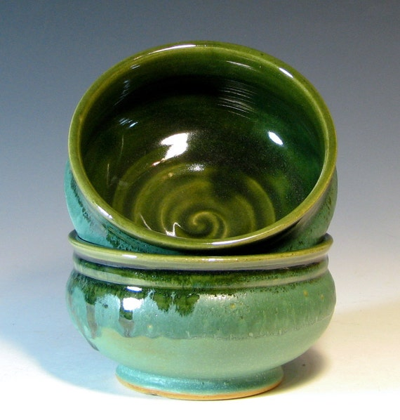 Bowl ceramic cereal soup dessert stoneware tableware, glazed in seafoam green, handmade by hughes pottery