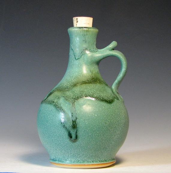 Bottle handmade stoneware, home decor olive oil serving vinegar kitchen, glazed in sea foam and green, handmade by Hughes Pottery