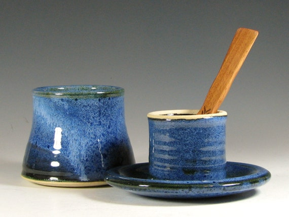 Butter dish with spreader, ceramic french crock keeper serving, glazed in sapphire blue, handmade stoneware by hughes pottery