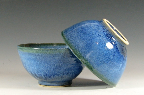 Rice bowl ceramic, cereal kitchen serving asian cusine, glazed in sapphire blue, handmade stoneware by hughes pottery