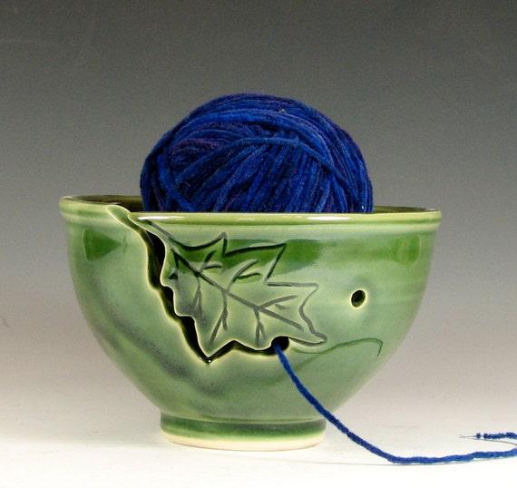 Knitting Yarn Bowl : Yarn bowl knitting crochet oak leaf ceramic glazed in green