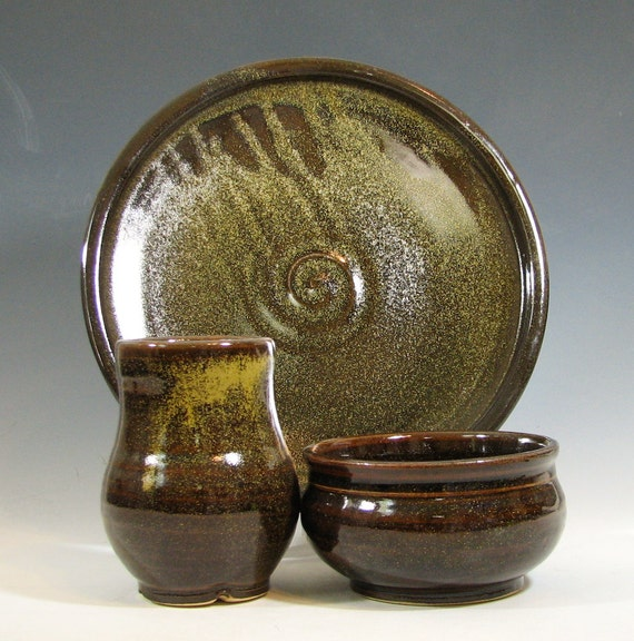 Dinner set, ceramic bowl cup plate, tumbler ceramic stoneware, glazed in brown with gold flecks, handmade by hughes pottery