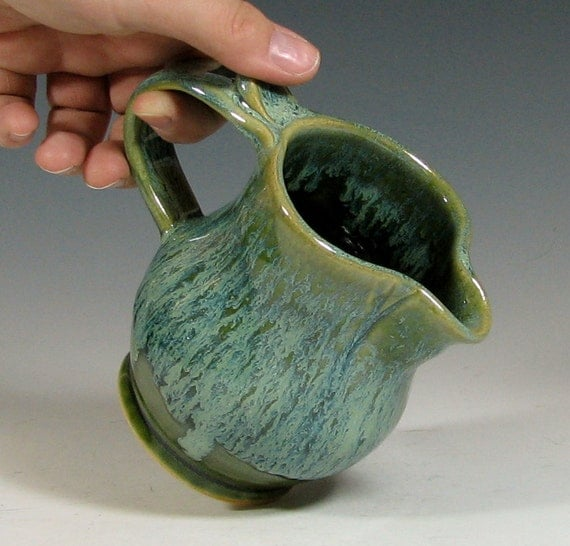 Maple syrup pitcher, ceramic creamer, breakfast serving, coffee tea service, handmade stoneware by hughes pottery