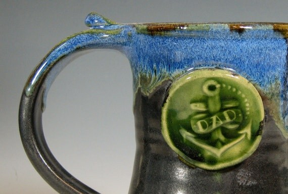 Dad coffee mug, gift tankard, fathers day beer stein, sapphire blue gray, handmade by hughes pottery