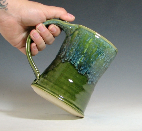 Beer tankard ceramic, coffee mug, stein cup, glazed in green moss, handmade stoneware by hughes pottery