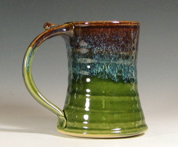 Coffee mug ceramic, beer tankard stein cup, glazed in green brown, handmade stoneware by hughes pottery