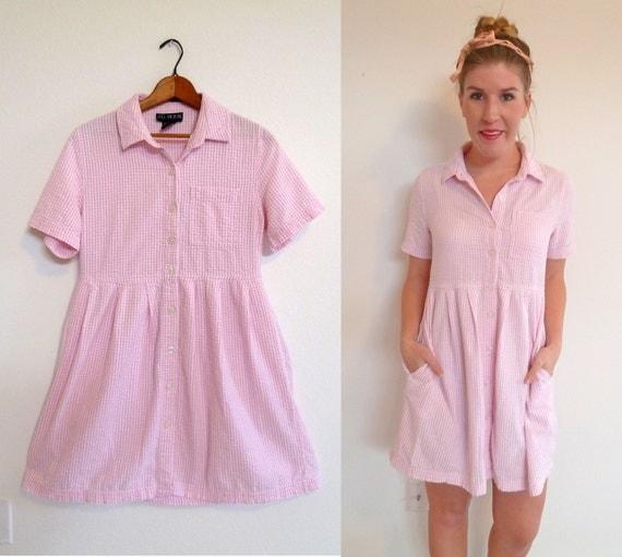 Woven Summer Dress- Vintage Pink Seersucker Mini- Size large