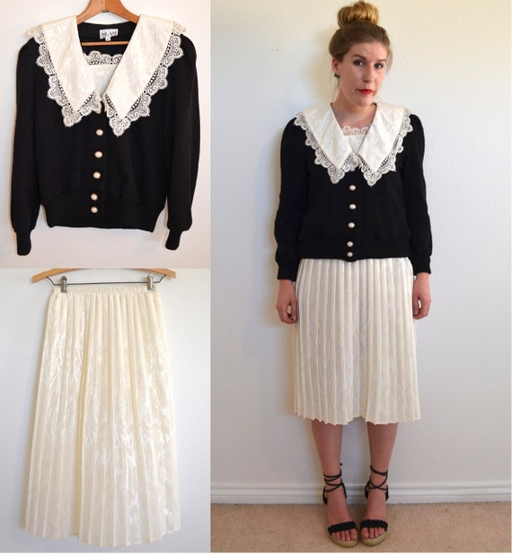 Sweater and skirt set- white pleated skirt and black cropped sweater- size small medium