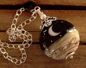 Black Moonlit Night Lampwork Glass & Bali Silver Necklace - 1002