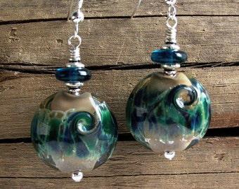 Sea Shimmer Blue Lampwork Glass & Sterling Silver Earrings - 970