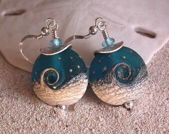 Beachy Ocean Wave II Blue Lampwork Glass and Sterling Silver Earrings - 746