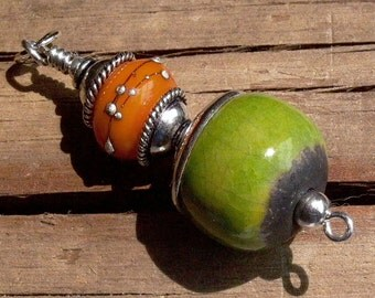 Bright Lime Green Clay & Mango Lampwork Glass and Bali Silver Pendant - 1071