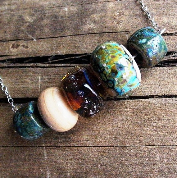 Earthy Beach Lampwork Glass and Sterling Silver Necklace - 1047