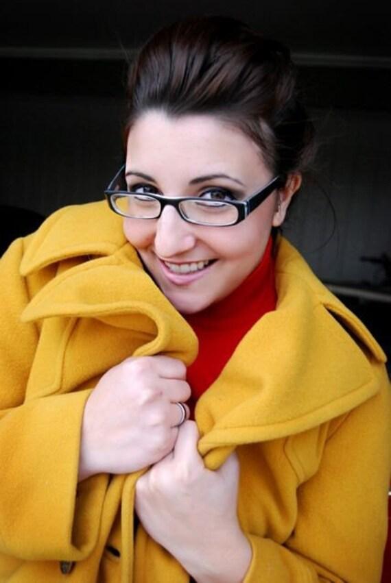 SALE Mustard yellow pea coat