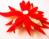 Red Felt Flower Barrette