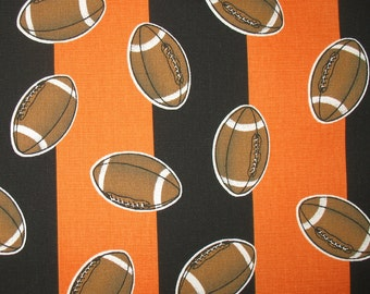 Game Day Football Prints - Orange and Black Stripes (1 1/2 Yd)  Home Decorating Fabric,  Football Fabric, Cotton Home Decor Fabric