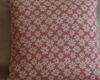 "Coral  With Eggshell Daisies Pillow Cover    (19"" X 19"")  Daisy Pillow Cover, Pillow Covers, Pillows"