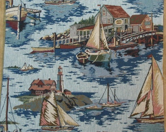 """Coastal Sailing Tapestry Pillow Cover  18"""" x 18""""  Pillow Covers, Tapestry Pillow Covers, Nautical Pillow Covers, Home Decor Pillow Covers"""