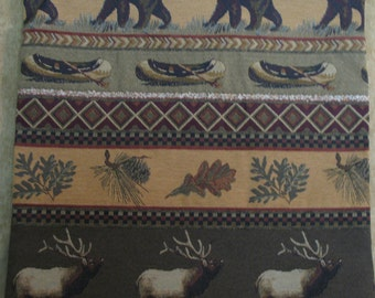 """Elk and Bear Canoe, Trout and Foliage Tapestry Pillow Cover  22"""" X 22"""""""