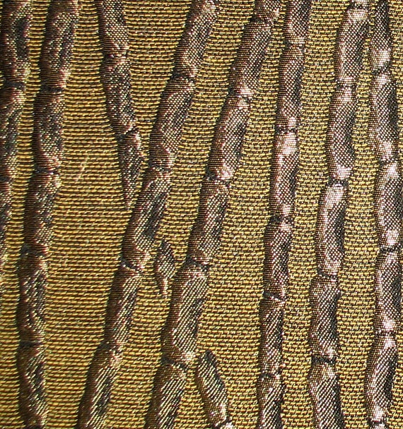Gold with Black Iridescent Bamboo Woven Jacquard Fabric 1 yd