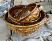 Serving bowl set flourish honey amber, set of 3