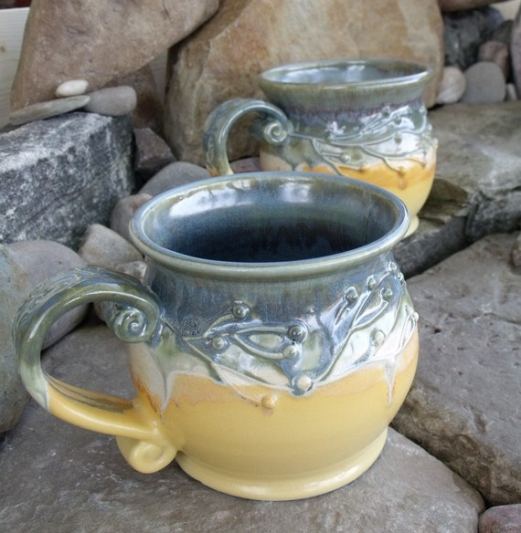 Mug, set of 2, yellow, blue, branches, berries
