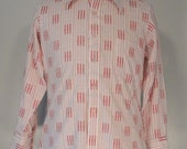 Red White and Pink Print Vintage Mens Shirt