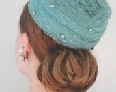 Pale Teal Mesh Coiled Vintage Hat with Rosettes