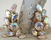 Brilliant Aurora Borealis Rhinestone Vintage Earrings