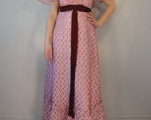 Pink and Burgundy Lace Vintage Maxi Dress 1960s 1970s Size Medium