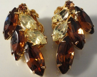 Golden Brown and Yellow Marquis Cut Rhinestone Vintage Earrings