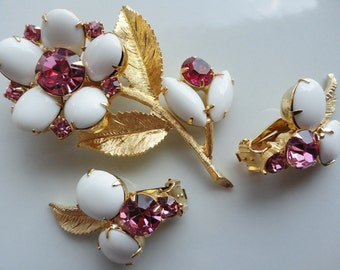 Pink Rhinestone and White Cab on Gold Vintage Flower Brooch and Earrings