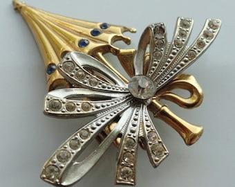 Umbrella with a Big Bow Vintage Brooch Pin