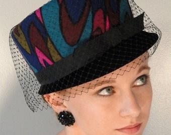 Funky Psychedelic Tall Vintage Hat Pink Teal Blue Plum Olive Green Burgundy and Black Velvet