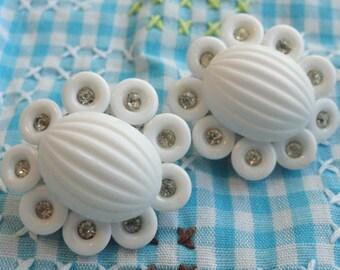 Milk Glass and Rhinestone Vintage Earrings