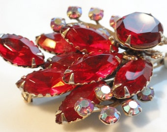 Ruby Red and Iridescent Pink Rhinestone Vintage Brooch