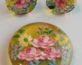 Vintage Brooch and Earring Set with Handpainted Flowers