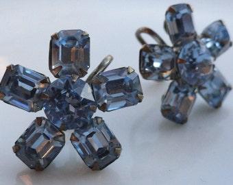 Blue Rhinestone Flowers Vintage Earrings