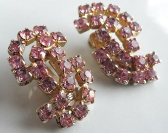 Sparkling Pink Rhinestone Vintage Earrings